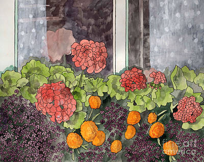 Painting - Floral Prints, Flower Prints, Flower Painting, The Window Box by LeAnne Sowa