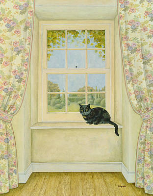Pussy Painting - The Window Cat by Ditz