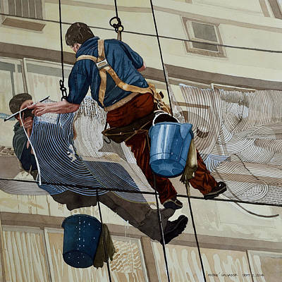 Painting - The Window Cleaner by Andre Salvador