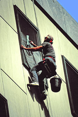Nine To Five Photograph - The Window Washer by Mike Flynn