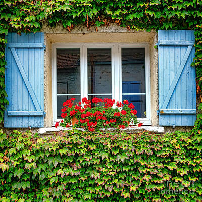 The Window With The Geraniums And The Blue Shutters Art Print by Olivier Le Queinec