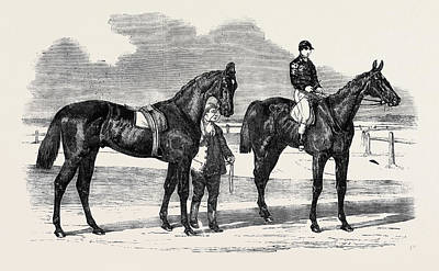 Herring Drawing - The Winners Of The Derby And The Oaks by Herring, Benjamin (1830-71), English