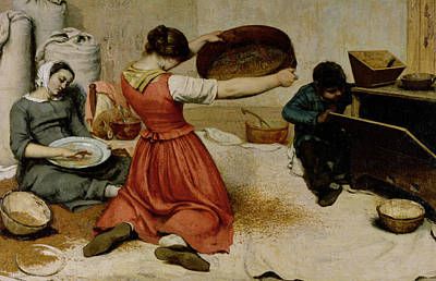 The Winnowers Print by Gustave Courbet