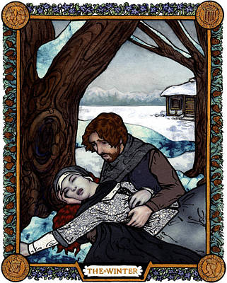 The Winter Bookplate Original by A Ka