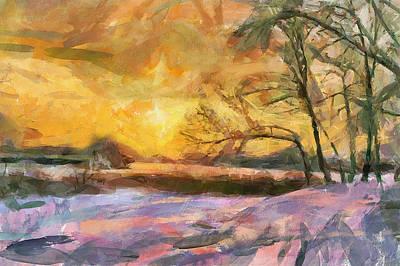 The Winter Sunset Art Print