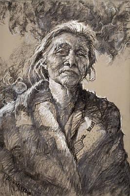 Native Women Drawing - The Wisdom Of Age by Ellen Dreibelbis
