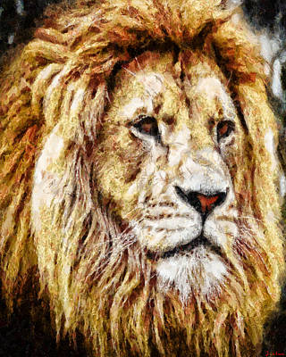 Digital Art - The Wise Lion by Joe Misrasi