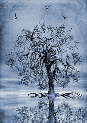 Abstract Shapes Painting - The Wishing Tree Cyanotype by John Edwards