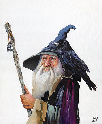 The Wizard And The Raven Print by J W Baker