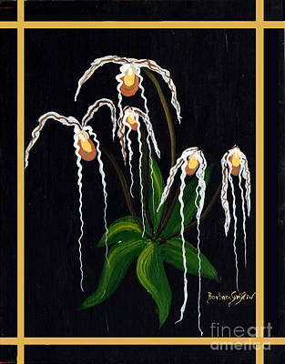 Tendrils Painting - The Wizard Slipper Orchid by Barbara Griffin