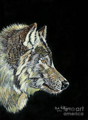 Scratchboard Painting - The Wolf by Bob Williams