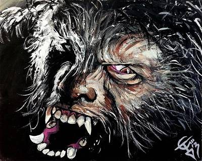 Wolfman Painting - The Wolfman by Tom Carlton