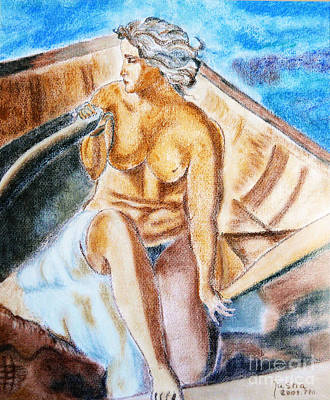 Art Print featuring the painting The Woman Rower by Jasna Dragun