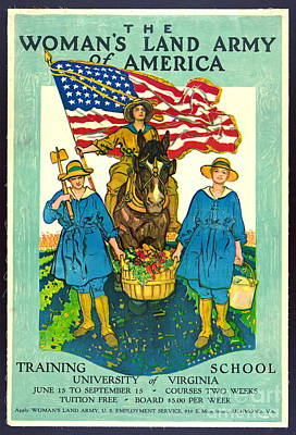 The Woman's Land Army Of America 1918 Art Print by Padre Art