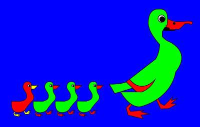 Digital Art - The Wonderful Copenhagen Ducks by Asbjorn Lonvig