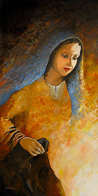 Mary Mother Of Jesus Painting - The Wonderment Of Mary - Virgin Mary Madonna Mother Of Jesus Christ Child by Carla Holiday