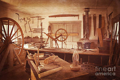 The Wood Workers Shop Vintage Art Print