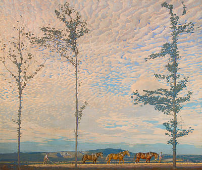 Plow Horse Painting - The Wooden Plough by Edward Louis Lawrenson
