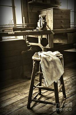 The Wooden Stool In Black And White Art Print by Paul Ward
