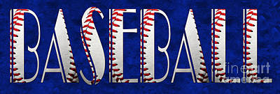 Mixed Media - The Word Is Baseball On Blue by Andee Design