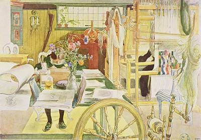 Spinning Wheel Painting - The Workroom, Pub. In Lasst Licht Hinin by Carl Larsson