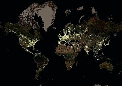 Cartography Photograph - The World At Night by Planetobserver