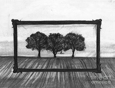 Pencil Drawings Drawing - The World In A Frame by J Ferwerda