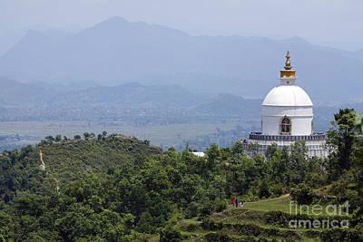World Peace Photograph - The World Peace Pagoda At Pokhara In Nepal by Robert Preston