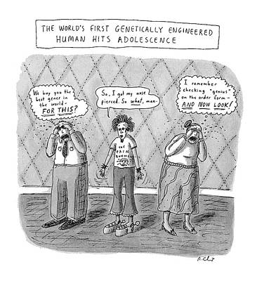 First-family Drawing - The World's First Genetically Engineered Human by Roz Chast