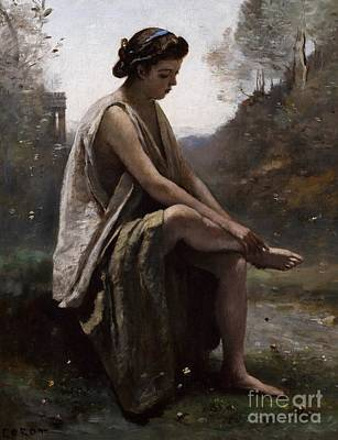 Wound Painting - The Wounded Eurydice by Jean Baptiste Camille Corot