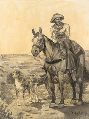 Drawing - The Wrangler by Howard DUBOIS