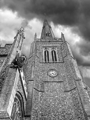 Photograph - The Wrath Of God - Thaxted Church In Black And White by Gill Billington