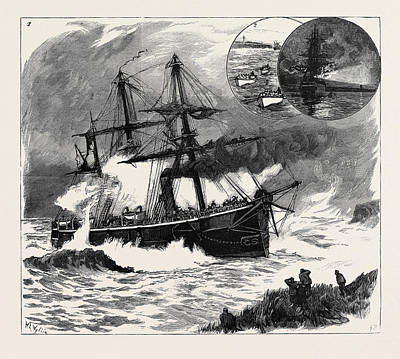 Lighthouse Drawing - The Wreck Of H.m.s. Phoenix Off Prince Edwards Island by English School