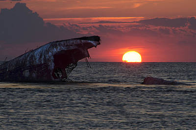 Beach Photograph - The Wreck Of The Atlantus At Sunset by Bill Cannon