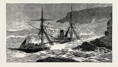 The Wreck Of The Cunard Steamship Malta Off Cape Cornwall Art Print