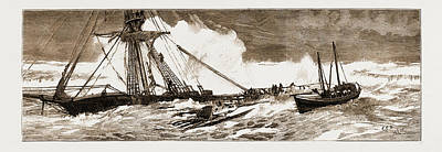 Indian Chief Drawing - The Wreck Of The Indian Chief The Ramsgate Lifeboat by Litz Collection