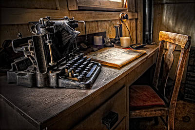 Antique Typewriter Photograph - The Writer's Desk by Debra and Dave Vanderlaan