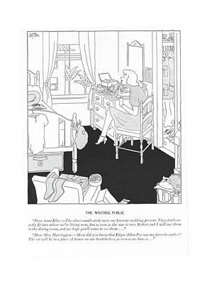 The Writing Public Dear Aunt Ella: - The Silver Art Print by Gluyas Williams