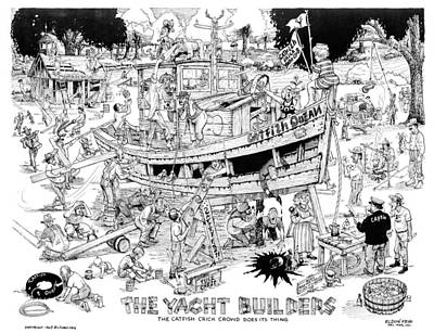 Drawing - The Yacht Builders by Eldon Frye