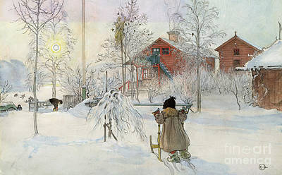 Snowy Painting - The Yard And Wash House by Carl Larsson