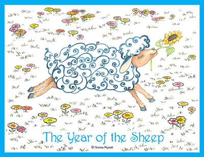 Year Of The Sheep Painting - The Year Of The Sheep by Nonna Mynatt