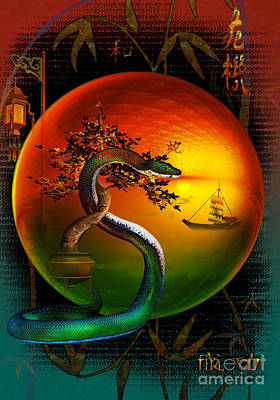 Year Of The Snake Digital Art - The Year Of The Snake by Shadowlea Is