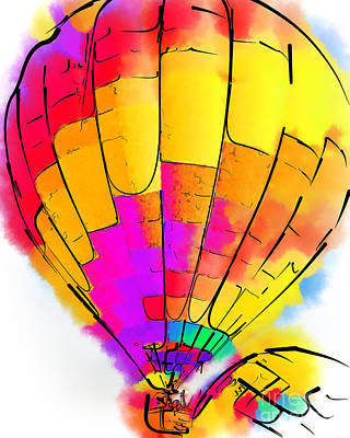 Digital Art - The Yellow And Red Balloon by Kirt Tisdale