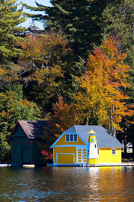 Fall Foliage Photograph - The Yellow Boathouse And Lighthouse by David Patterson