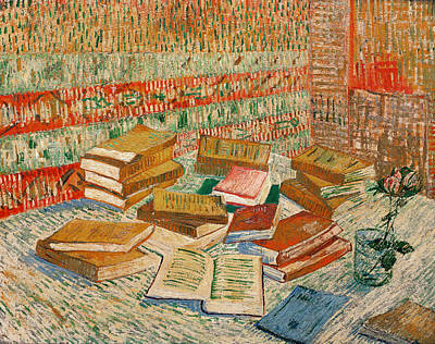 Library Painting - The Yellow Books by Vincent Van Gogh