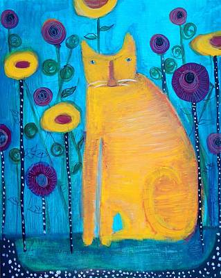 American Heritage Party Painting - The Yellow Cat by Linda MorganSmith