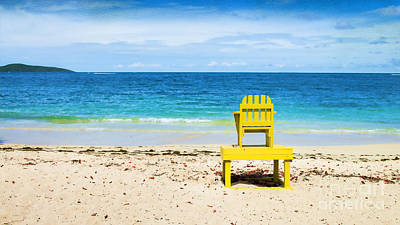 Caribbean Sea Digital Art - The Yellow Chair by Betty LaRue