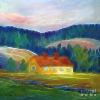 Abstract Digital Mixed Media - The Yellow Cottage by Lutz Baar