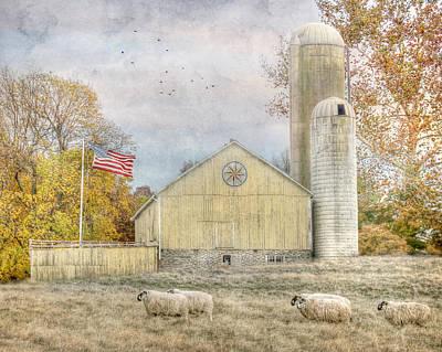 Barn Digital Art - The Yellow Farm by Lori Deiter