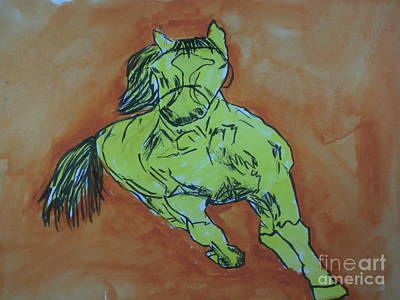 Painting - The Yellow Horse by Patries Van Dokkum